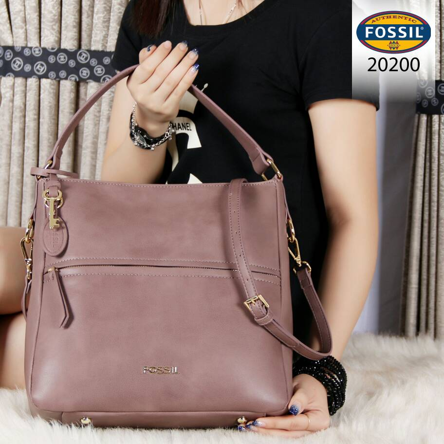 4a8479e57 CollectionBatam | Tas Fossil Corey Hobo Leather Ungu Semi Ori