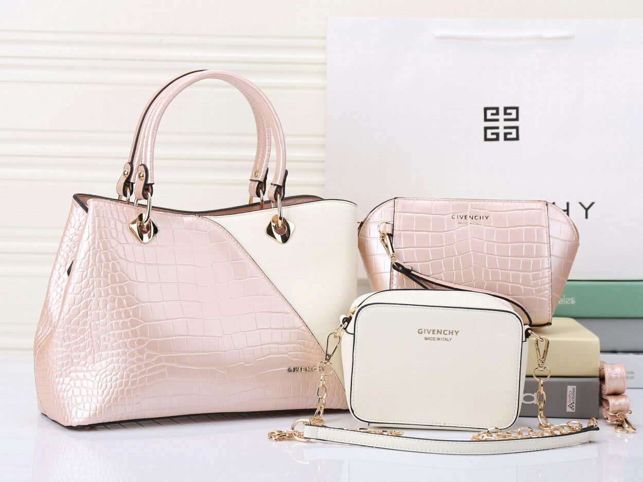 Collectionbatam Tas Givenchy Croco 3in1 2tone Softpink Semi Premium Dompet Kulit Warna Pink Model Terbaru